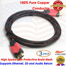 Premium Series HDMI Cable 6FT w/Nylon Protective Braid,Ethernet,3D,Audio, 3Packs