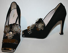 MIU MIU Black Silver Metal Embellished Floral Bow RunWay Pumps 39 9 NEW RARE