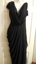 $1600 CATHERINE MALANDRINO  BLACK LABEL SILK DRAPED LONG DRESS GOWN 2 XS