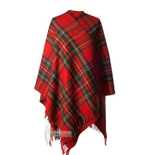 ALL WOOL FULL-SIZE LADIES CAPE - SCOTTISH TARTAN - STEWART ROYAL