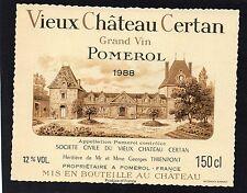 POMEROL ETIQUETTE VIEUX CHATEAU CERTAN 1988 150 CL  RARE §13/08§