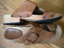 Vintage Leather Wood Sandals Boho hippy Women's 6.5 7 1960 disco boho hippy