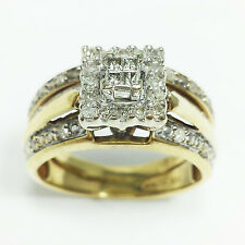 10k Yellow Gold Square 0.50 CT DIAMOND HALO Engagement RING BRIDAL SET Princess