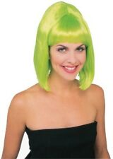 Womens Short Green Wig Neon Lime Hair Bob Bangs Rock Star Punk 80s Costume Adult