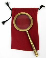 "4"" BRASS MAGNIFYING GLASS HANDLE - HAND HELD MAGNIFIER BRASS - OFFICE DESK"