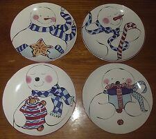 "Rosanna Snowman Christmas Holiday Ceramic 8"" Plates~Set of 4~Candy Cane Scarves"