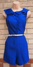 RIVER ISLAND BLUE RUFFLE NECKLINE HALF BUTTONED BELTED FIT PLAYSUIT ALL IN ONE 8