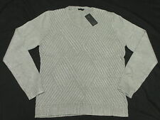 $89 NWT NEW Mens Guess Luke Crosshatch Weave V-Neck Sweater Stone Grey Sz L M539