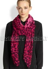 "ALEXANDER MCQUEEN fuchsia SKULL Animal print 52""-Square silk scarf NEW Authentic"