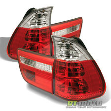 2000-2006 BMW E53 X5 Red Clear Rear Tail Brake Lights Lamps Left+Right 00-06 Set