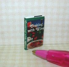"""Miniature """"Cooking with Wine"""" Cookbook w/Dust Cover & Text: DOLLHOUSE 1/12"""