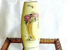 FABULOUS HAND CRAFTED PORCELAIN FAMILY ROSE TALL VASE SIGNED