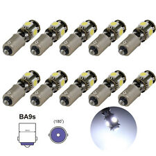10x BA9S T4W 5050 5SMD Led Canbus Error Free Door Car Interior Light White Bulbs