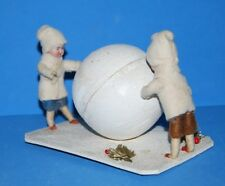 Antique Germany Cotton Bisque Paper Mache Heubach Boys Snowball Candy Container