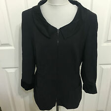 MONDI Gala Escada Germany 44 10 L black wool crepe zip front jacket satin trim