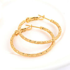 womens earings 18k yellow gold filled Frosted amazing engagement hoop earrings
