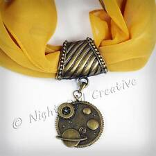 Scarf Ring.Pendant, Clip, Antique Bronze Steampunk Celestial Retro Jewellery