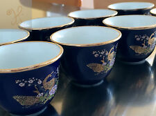 JAPANESE COLLECTOR TEA SAKE 8 SET 24KT GOLD BLUE POTTERY PEACOCKS FLOWERS JAPAN