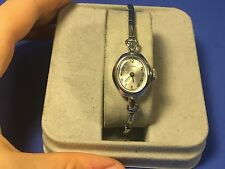 Timex Watch Wind Up Ladies Cocktail Dress Watch Very Thin Band Silver Tone Oval