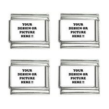 New Personalized Custom Your Logo Design Photo Text  9mm Italian Charm (4 pack)
