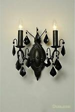 DUSX Charlotte Vintage Black Glass French 2 Arm Chandelier Wall Sconce Light