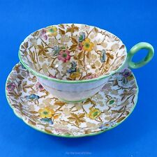 Handpainted Chintz & Green Handle Shelley Tea Cup and Saucer Set
