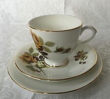 English CLARE Bone China Footed Cup, Saucer, and Dessert Dish Trio
