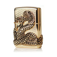 Zippo Lighter SNAKE COIL GOLD Windproof Made in USA GENUINE /+Free Gift 6Flints