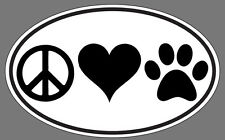 Euro Peace Love Paws Decal Sticker Oval PET DOG LOVER THE BEST QUALITY