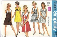 Vintage 1960's Sewing Pattern Simplicity 8193 A-Line V Collar Dress Uncut  B 38""