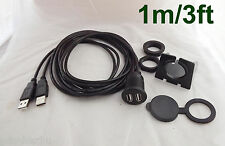 Car Dashboard Flush Mount Dual USB 2.0 A Male To 2x Female Extension Cable 3ft