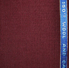Burgundy Super 150's Wool Cashmere Suiting Fabric - Length = 3.50 Metres