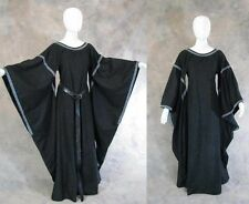 Black Medieval Bell Sleeve Dress Gown SCA Game of Thrones Cosplay Costume L XL