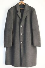 Heavy Crombie Wool Overcoat 44R Solid Gray Herringbone Textured Winter Coat