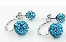 STAINLESS STEEL DOUBLE SHAMBALLA CRYSTAL BALL AQUAMARINE BLUE EARRINGS 10MM