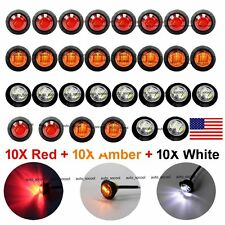 "10X Red 10X Amber 10X White Mini 12V 3/4"" Round Side 3 LED Marker Light US Stock"