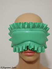 Latex/Rubber (padded) Blindfold In Jade green with tie back