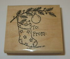 Hedgehog Stocking To From Gift Tag Rubber Stamp Christmas New Stampin' Up Branch