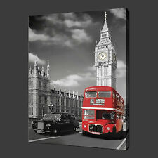 LONDON BIG BEN RED BUS CANVAS WALL ART PICTURES PRINTS 30 x 20 Inch FREE UK P&P