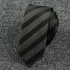 Fashion Men's Stripe Wedding Neck Tie Necktie Narrow Slim Skinny Ties Black