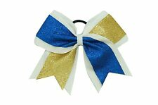 8 Inch Glitter Gold & Blue Cheer Hair Bow With Elastic Band Cheerleading CB006