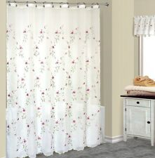 Loretta Fabric Shower Curtain With Embroidered Violet Flowers