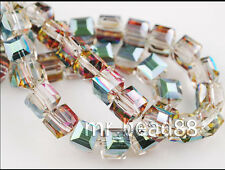 50ps Hot Colorized Glass Crystal Faceted Cube Bead 6mm Spacer Jewelry Findings