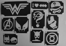 GLITTERTATTOO 10x diff stencil wonderwoman batman and others glitter tattoo