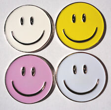 Don't Worry..Be Happy!  4 Smiley Face Golf Ball Markers Plus 2 Bonus Hat Clips