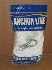 """NEW 3/8"""" x 50' Anchor Line Solid Braid White Boat Anchorline Stearns G209"""