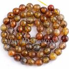 """6MM FACETED ROUND CRACKED YELLOW AGATE LOOSE GEMSTONE BEADS STRAND 15"""""""