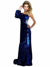 New MAC DUGGAL 50149M Royal Blue Sequin Long Pageant Prom Evening Dress Size 8