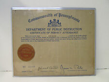 1934 Commonwealth of Pennsylvania ~ Certificate of Perfect Attendance No.111777