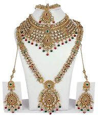 3119 Indian Bollywood Diamante Kundan Pearl Gold Tone Bridal Fashion Jewelry Set